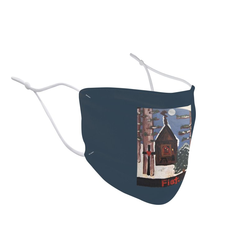 Russian Chapel in a Snowy Wood Accessories Face Mask by Mary Kloska Fiat's Artist Shop