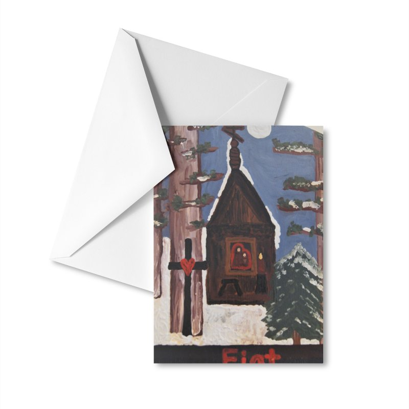 Russian Chapel in a Snowy Wood Accessories Greeting Card by Mary Kloska Fiat's Artist Shop