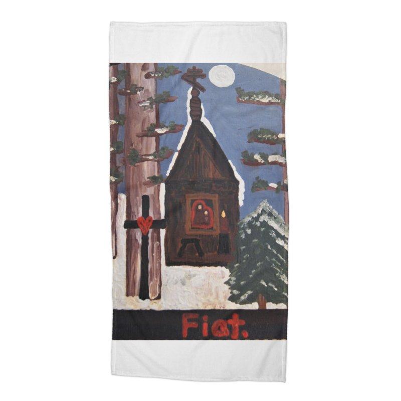 Russian Chapel in a Snowy Wood Accessories Beach Towel by Mary Kloska Fiat's Artist Shop
