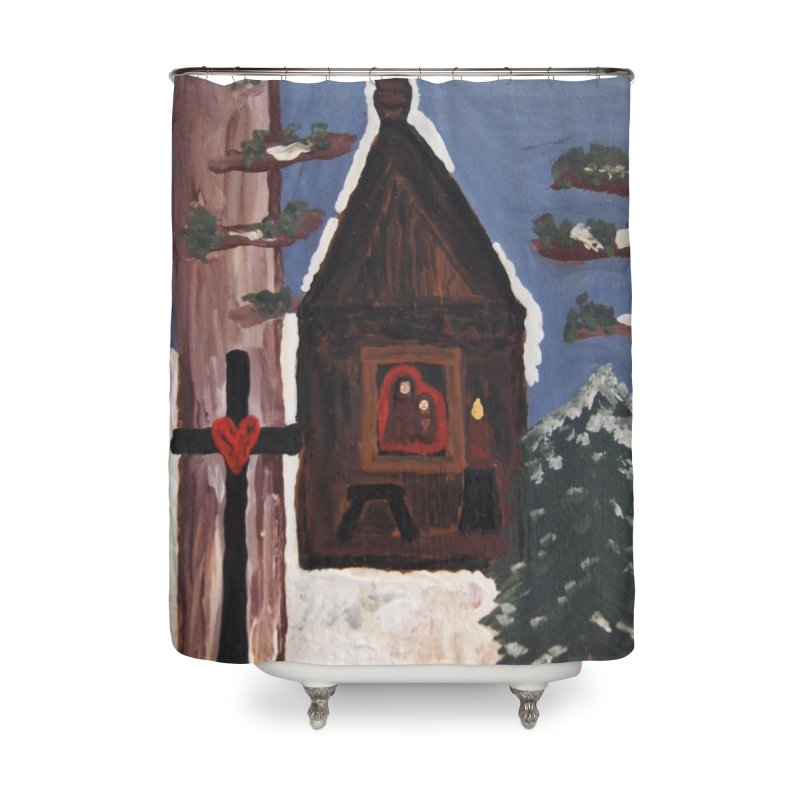 Russian Chapel in a Snowy Wood Home Shower Curtain by Mary Kloska Fiat's Artist Shop