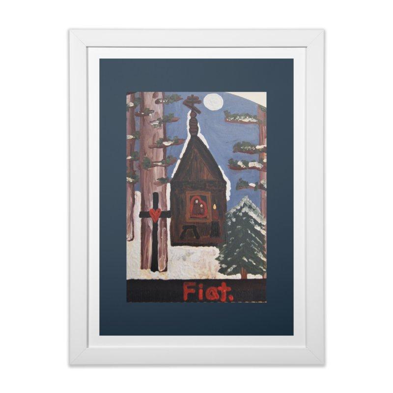 Russian Chapel in a Snowy Wood Home Framed Fine Art Print by Mary Kloska Fiat's Artist Shop