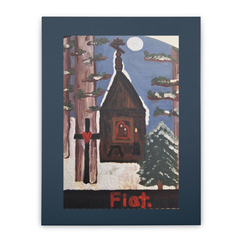 Russian Chapel in a Snowy Wood Home Stretched Canvas by Mary Kloska Fiat's Artist Shop