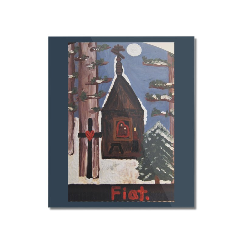 Russian Chapel in a Snowy Wood Home Mounted Acrylic Print by Mary Kloska Fiat's Artist Shop