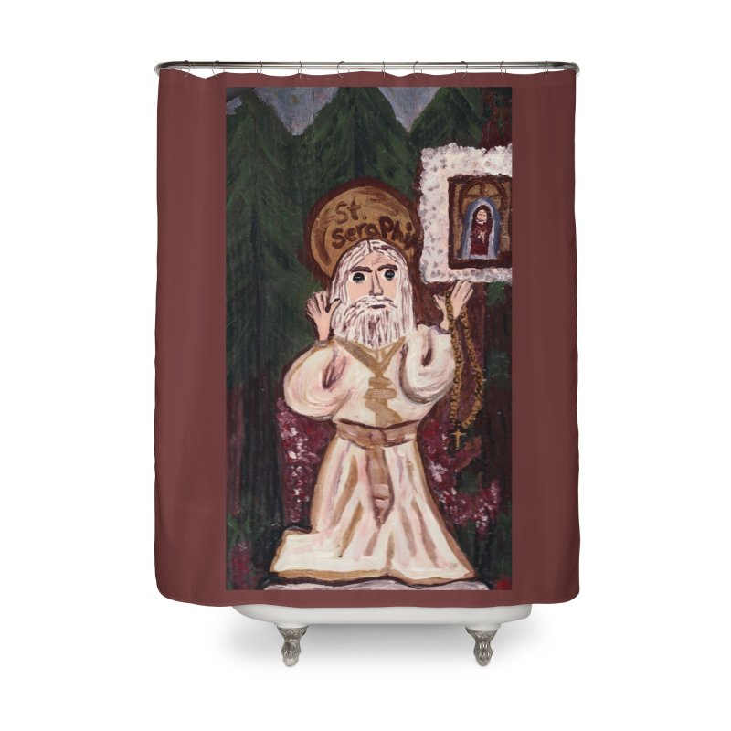 St. Seraphim of Sarov Home Shower Curtain by Mary Kloska Fiat's Artist Shop