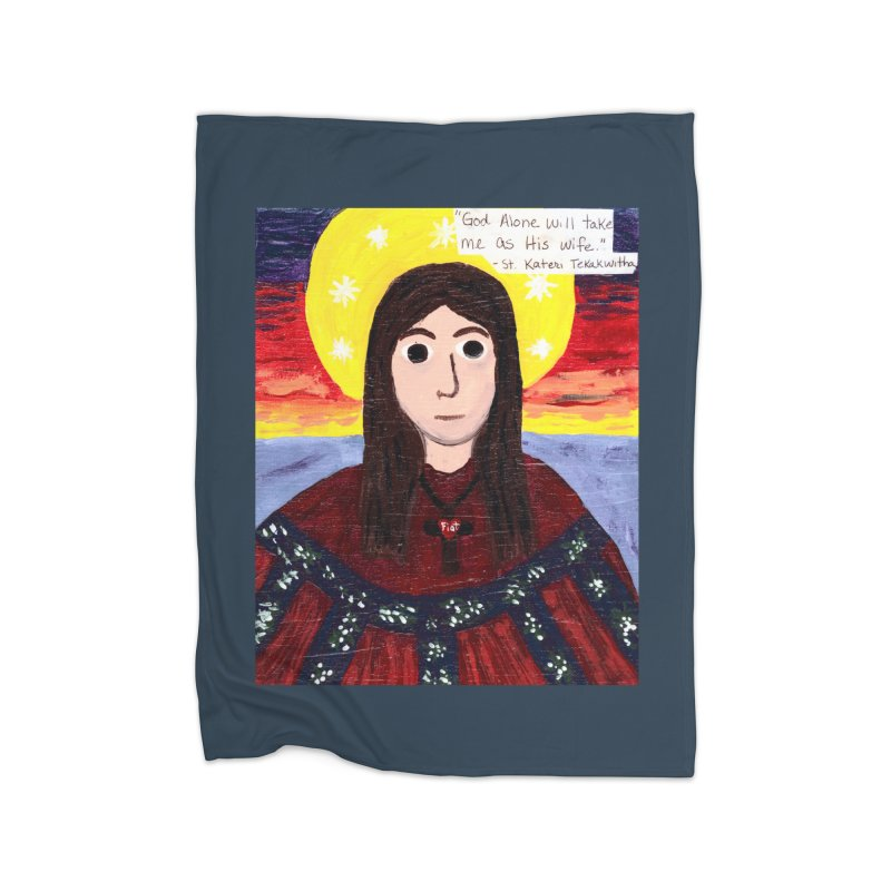 St. Kateri Tekakwitha Home Blanket by Mary Kloska Fiat's Artist Shop