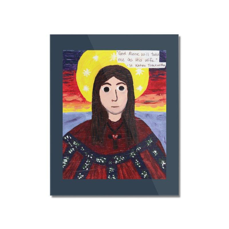 St. Kateri Tekakwitha Home Mounted Acrylic Print by Mary Kloska Fiat's Artist Shop