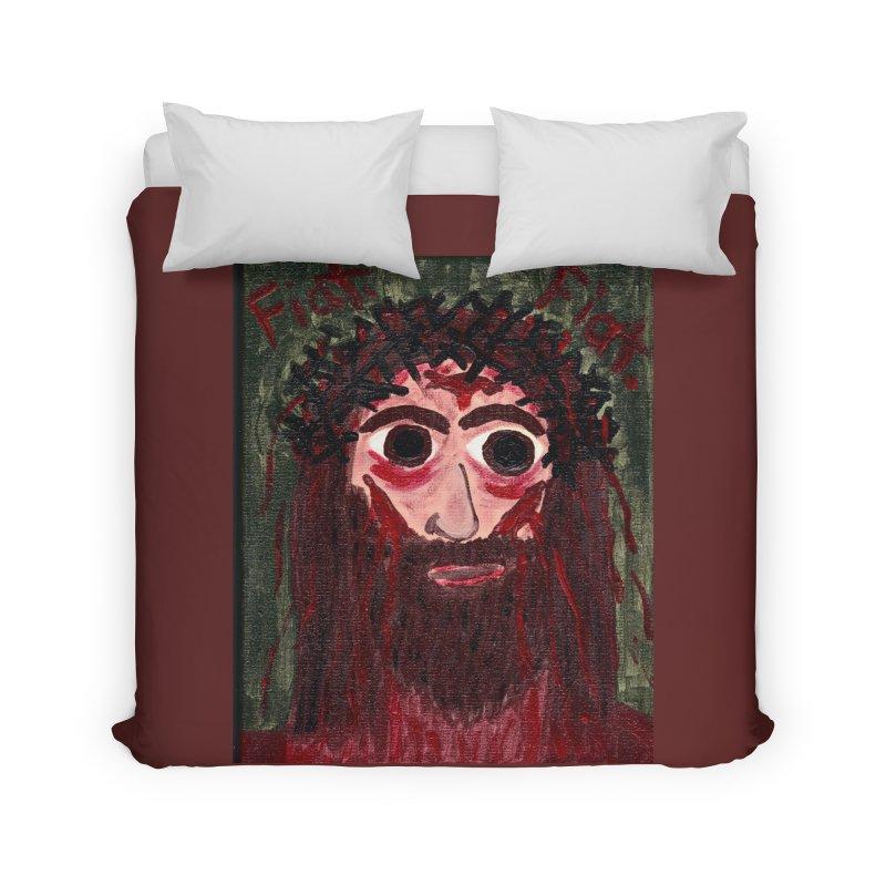 Face of Jesus Home Duvet by Mary Kloska Fiat's Artist Shop
