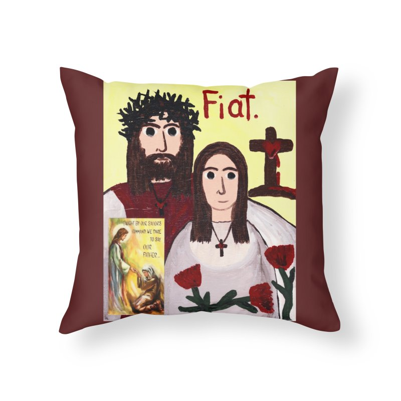 Jesus with 'Mary' Home Throw Pillow by Mary Kloska Fiat's Artist Shop