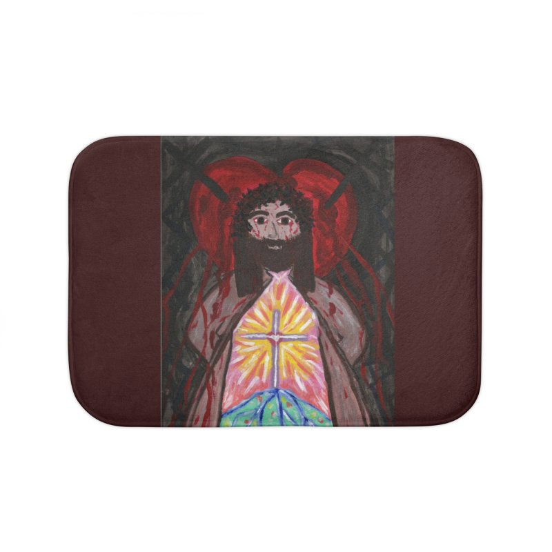 Crucified Priest Offering Hope Home Bath Mat by Mary Kloska Fiat's Artist Shop