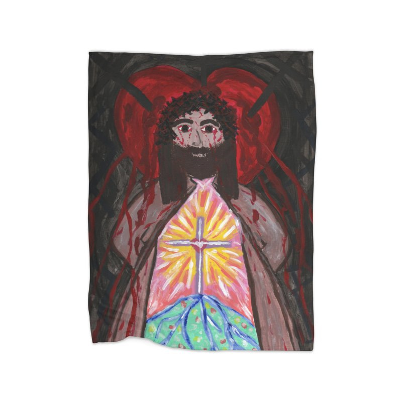 Crucified Priest Offering Hope Home Blanket by Mary Kloska Fiat's Artist Shop