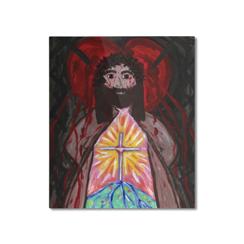 Crucified Priest Offering Hope Home Mounted Aluminum Print by Mary Kloska Fiat's Artist Shop