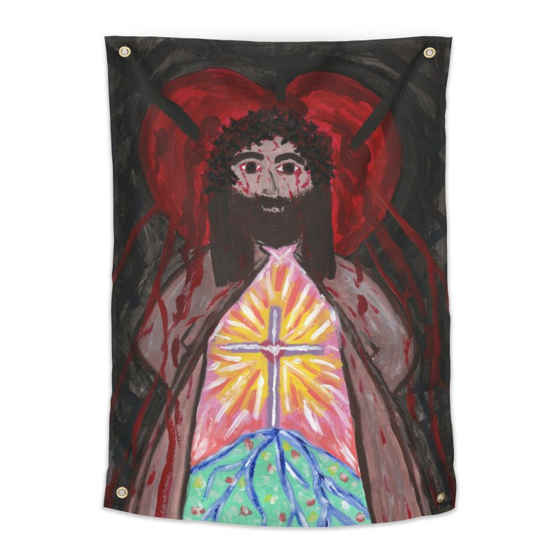 Crucified Priest Offering Hope Home Tapestry by Mary Kloska Fiat's Artist Shop