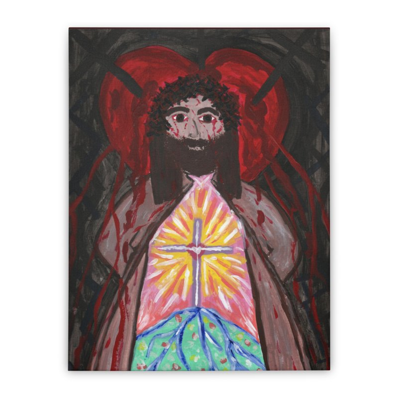 Crucified Priest Offering Hope Home Stretched Canvas by Mary Kloska Fiat's Artist Shop