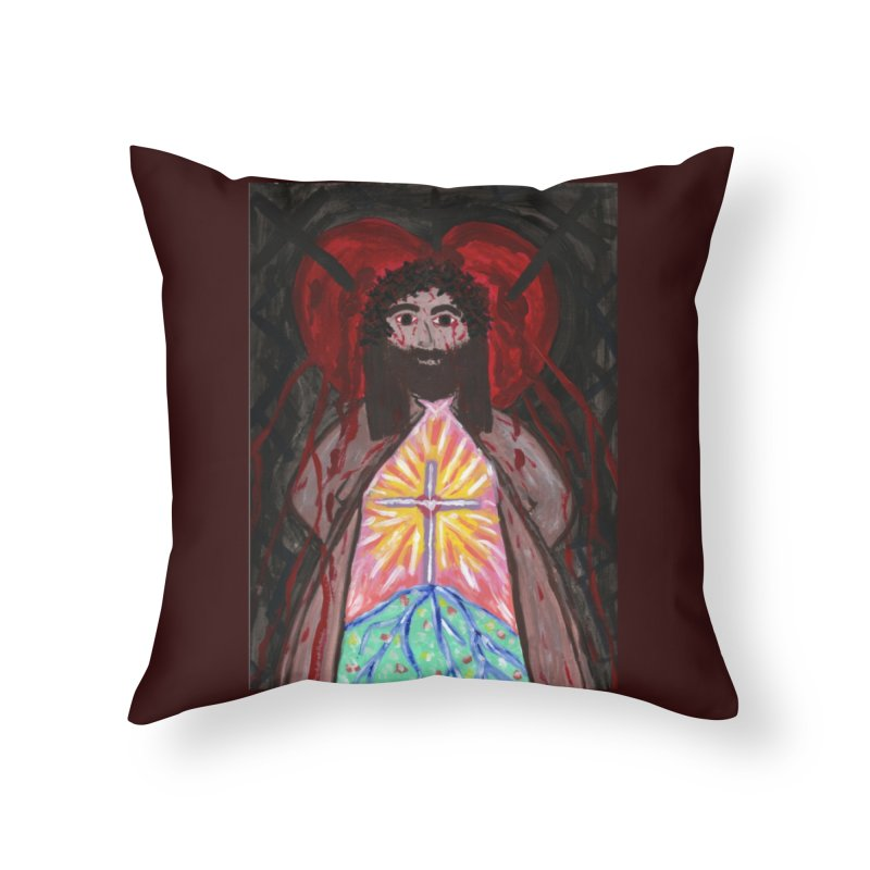 Crucified Priest Offering Hope Home Throw Pillow by Mary Kloska Fiat's Artist Shop