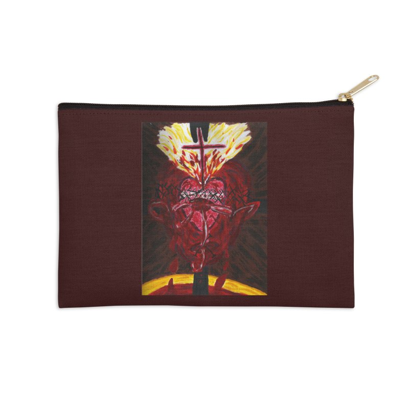 Hearts of Indwelling Love Accessories Zip Pouch by Mary Kloska Fiat's Artist Shop
