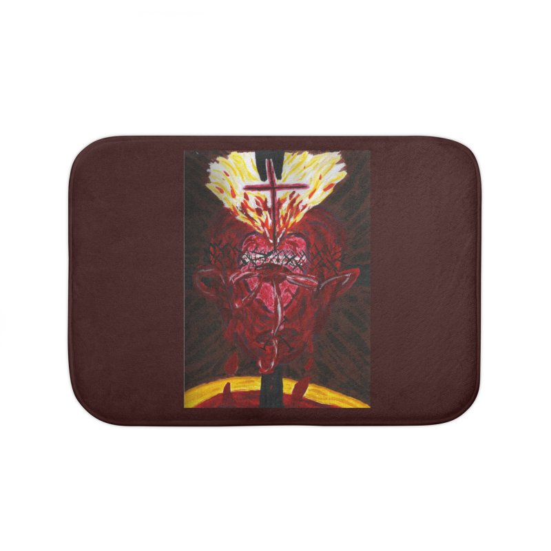 Hearts of Indwelling Love Home Bath Mat by Mary Kloska Fiat's Artist Shop