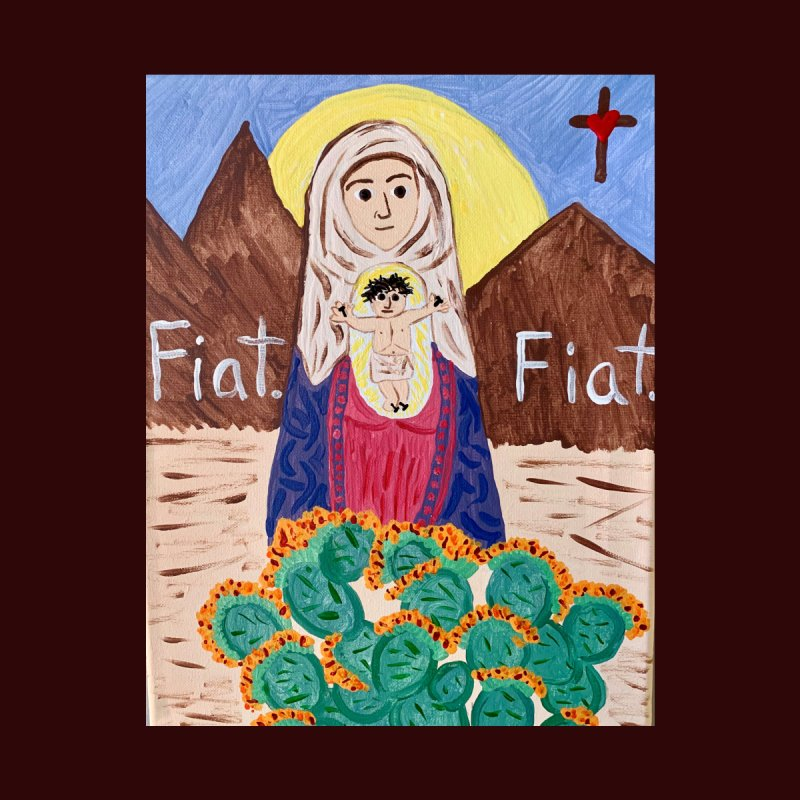 Desert Mother Mary Home Bath Mat by Mary Kloska Fiat's Artist Shop
