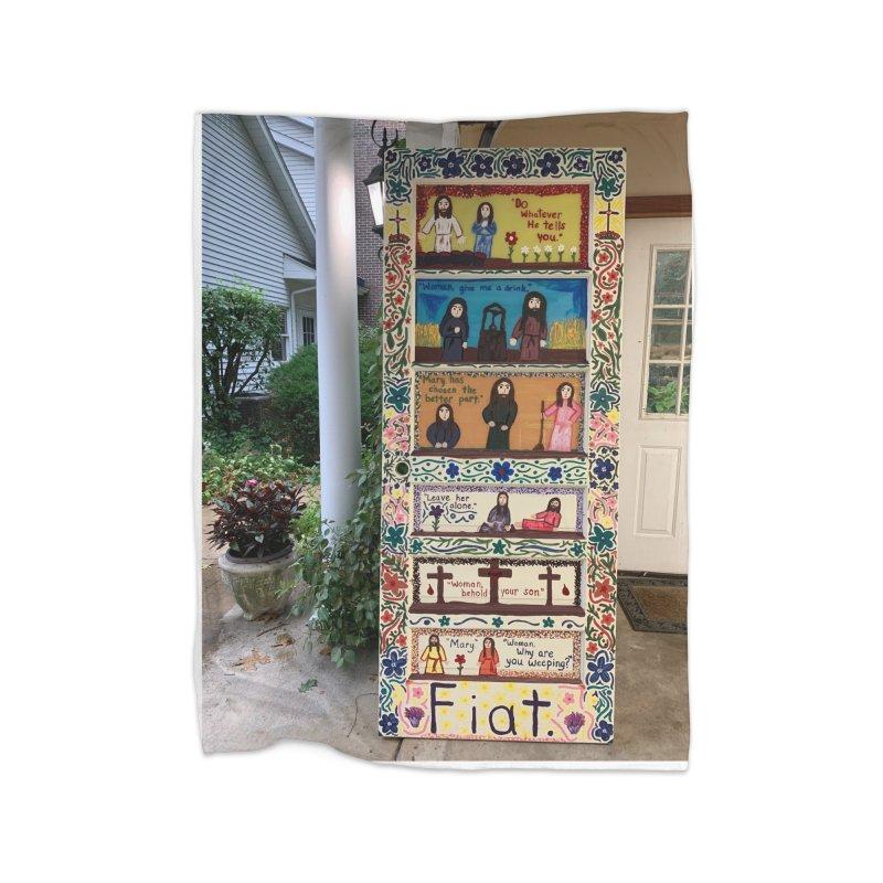 Jesus With Women Door -Outside Home Blanket by Mary Kloska Fiat's Artist Shop
