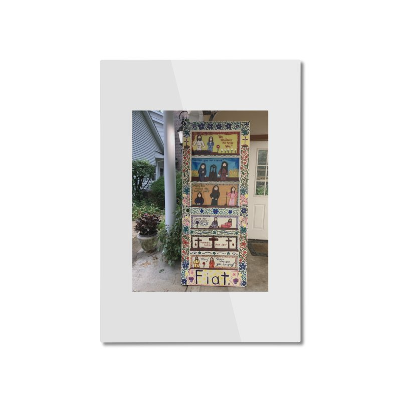 Jesus With Women Door -Outside Home Mounted Aluminum Print by Mary Kloska Fiat's Artist Shop
