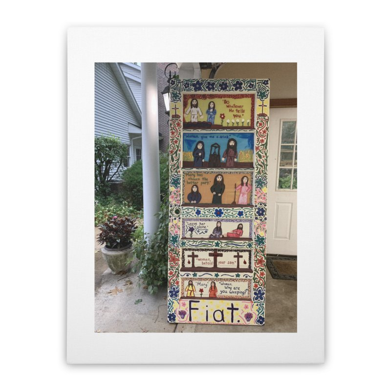 Jesus With Women Door -Outside Home Stretched Canvas by Mary Kloska Fiat's Artist Shop