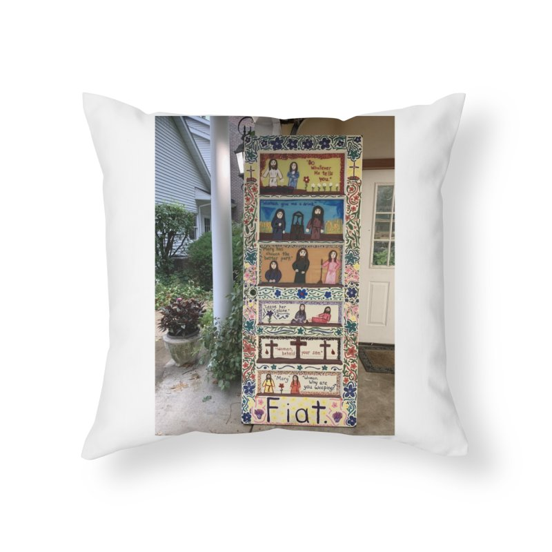 Jesus With Women Door -Outside Home Throw Pillow by Mary Kloska Fiat's Artist Shop
