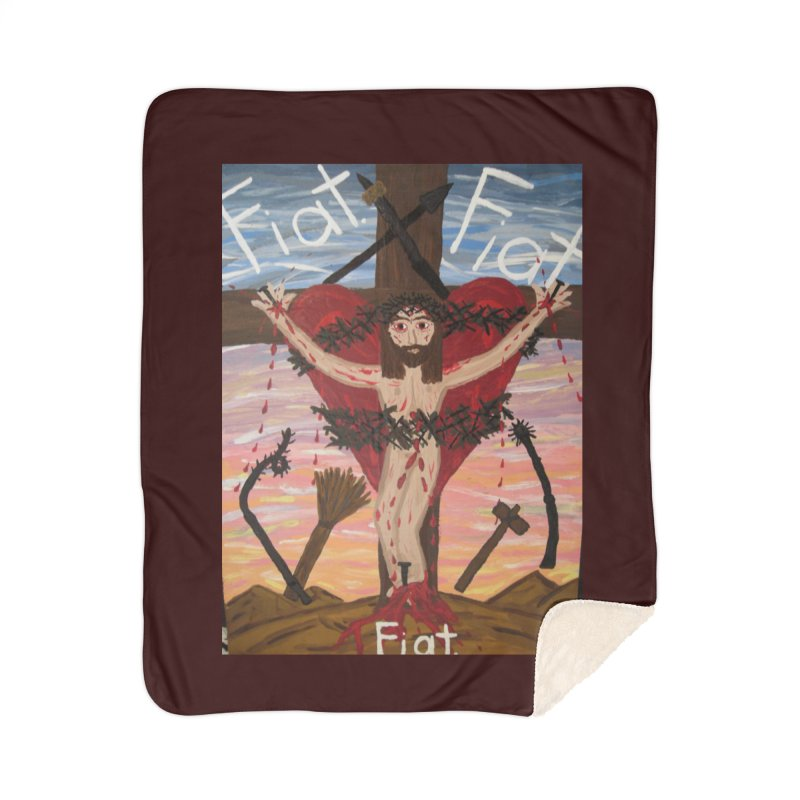 Jesus Crucified -With His Instruments of Torture Home Blanket by Mary Kloska Fiat's Artist Shop