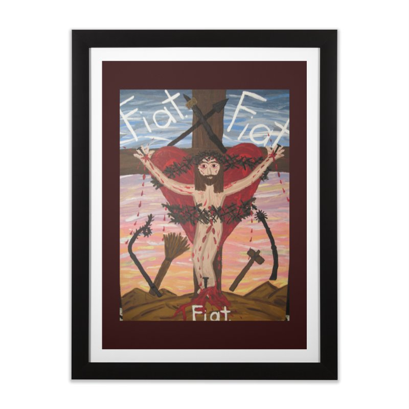 Jesus Crucified -With His Instruments of Torture Home Framed Fine Art Print by Mary Kloska Fiat's Artist Shop