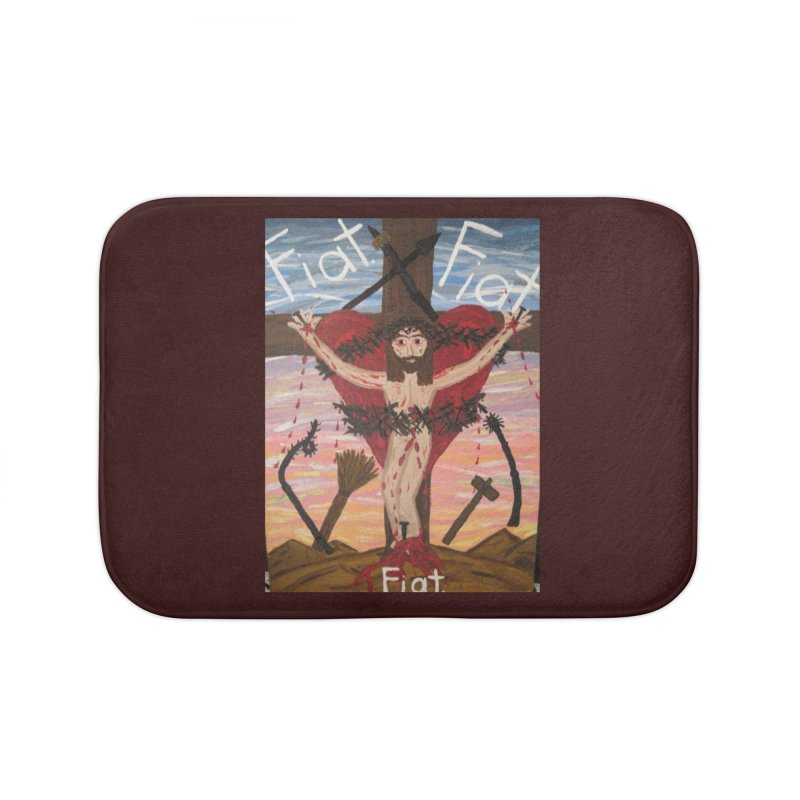 Jesus Crucified -With His Instruments of Torture Home Bath Mat by Mary Kloska Fiat's Artist Shop