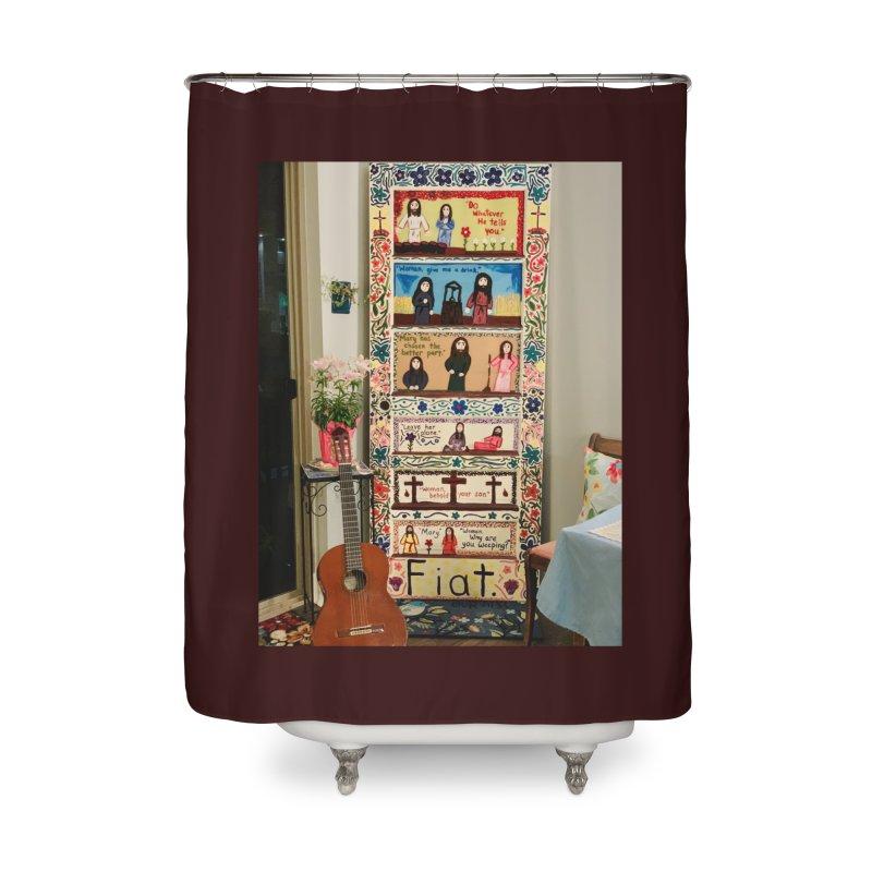 Jesus With Women Door -Inside Home Shower Curtain by Mary Kloska Fiat's Artist Shop