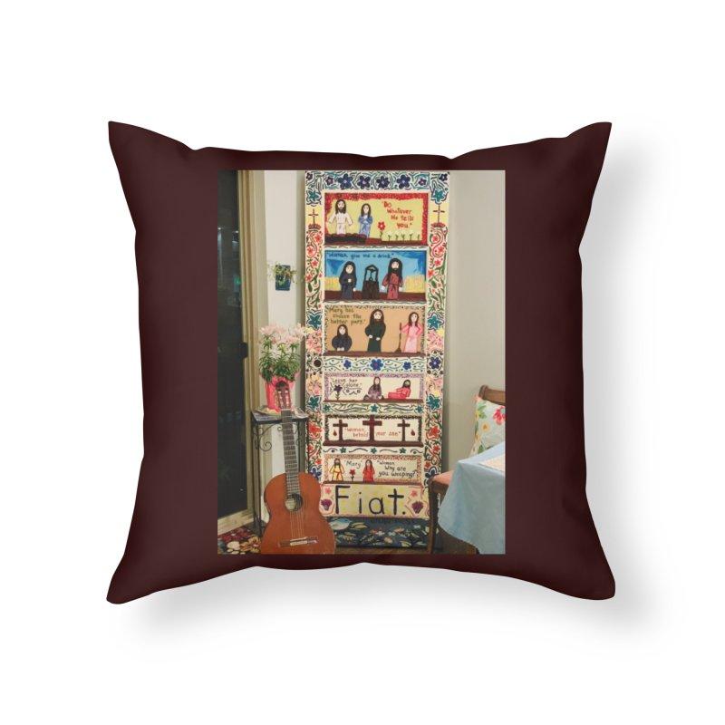 Jesus With Women Door -Inside Home Throw Pillow by Mary Kloska Fiat's Artist Shop