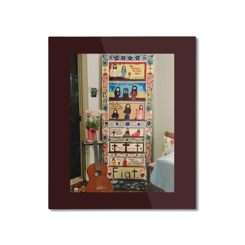 Jesus With Women Door -Inside Home Mounted Aluminum Print by Mary Kloska Fiat's Artist Shop