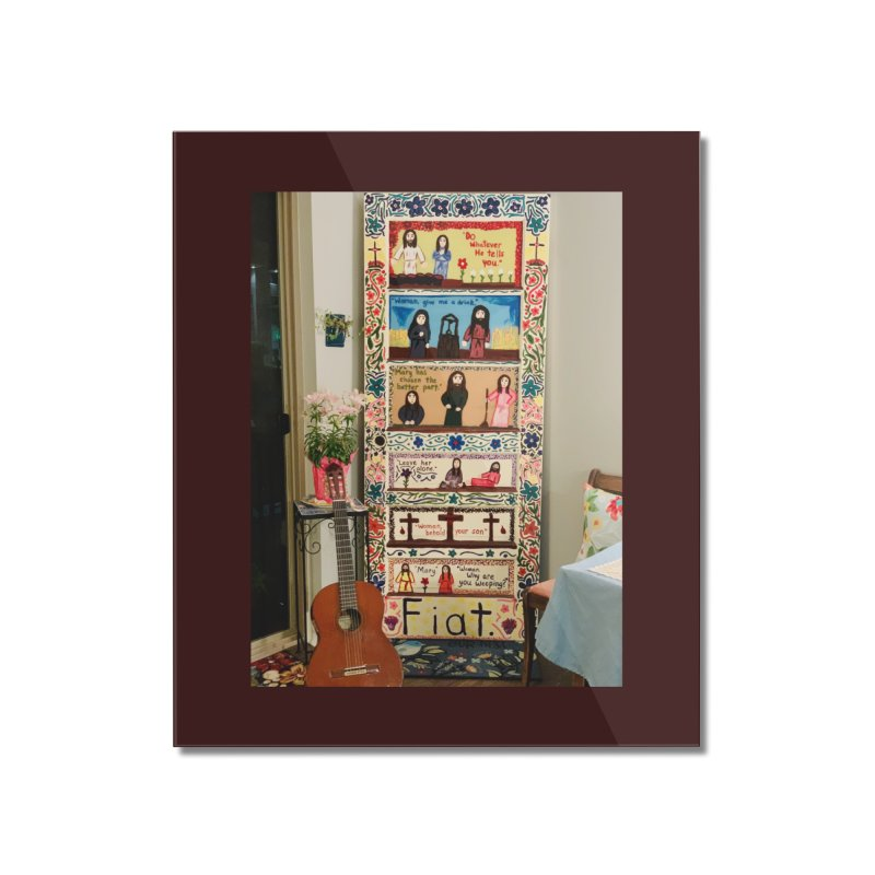 Jesus With Women Door -Inside Home Mounted Acrylic Print by Mary Kloska Fiat's Artist Shop