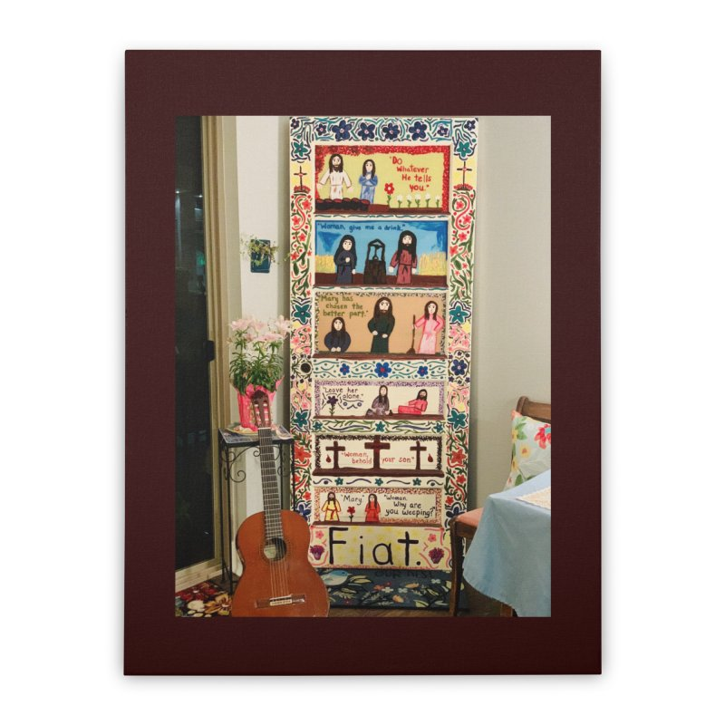 Jesus With Women Door -Inside Home Stretched Canvas by Mary Kloska Fiat's Artist Shop