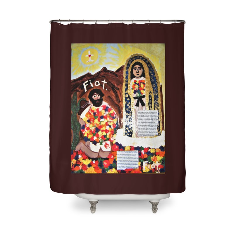 Our Lady of Guadalupe with Juan Diego Home Shower Curtain by Mary Kloska Fiat's Artist Shop
