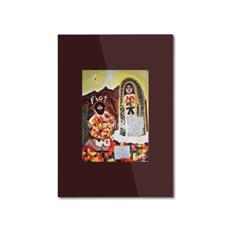 Our Lady of Guadalupe with Juan Diego Home Mounted Aluminum Print by Mary Kloska Fiat's Artist Shop