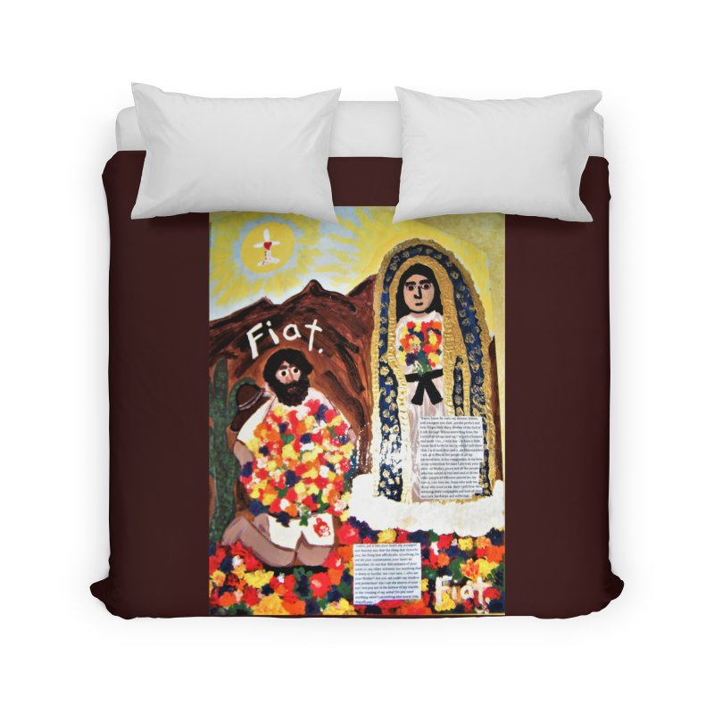 Our Lady of Guadalupe with Juan Diego Home Duvet by Mary Kloska Fiat's Artist Shop