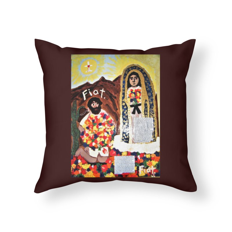Our Lady of Guadalupe with Juan Diego Home Throw Pillow by Mary Kloska Fiat's Artist Shop