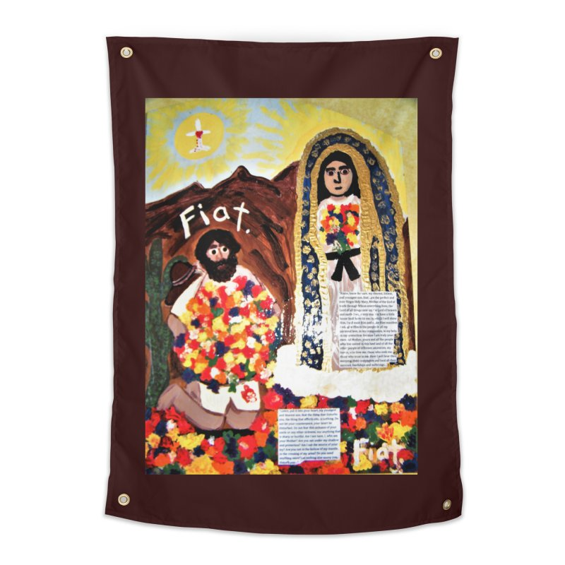 Our Lady of Guadalupe with Juan Diego Home Tapestry by Mary Kloska Fiat's Artist Shop