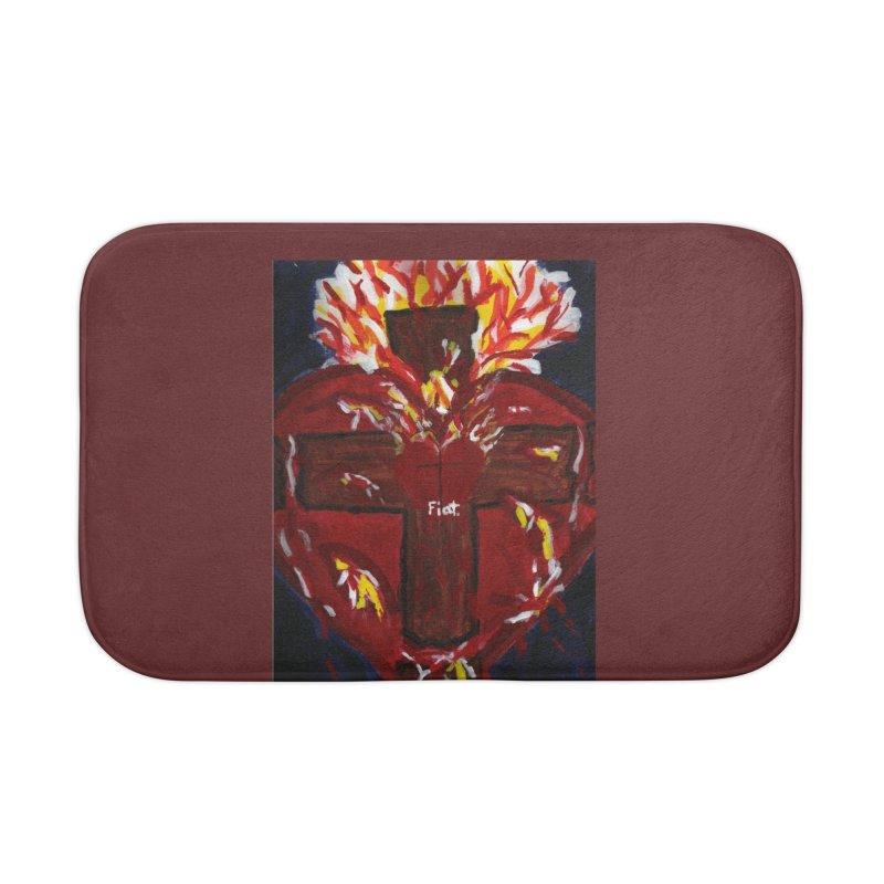 Sacred Heart of Jesus Home Bath Mat by Mary Kloska Fiat's Artist Shop
