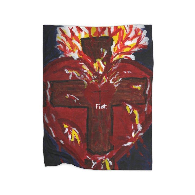 Sacred Heart of Jesus Home Blanket by Mary Kloska Fiat's Artist Shop