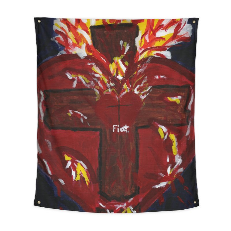 Sacred Heart of Jesus Home Tapestry by Mary Kloska Fiat's Artist Shop