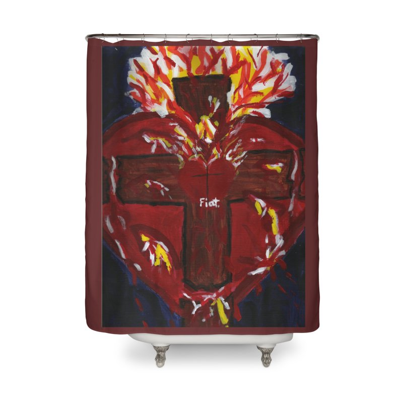 Sacred Heart of Jesus Home Shower Curtain by Mary Kloska Fiat's Artist Shop