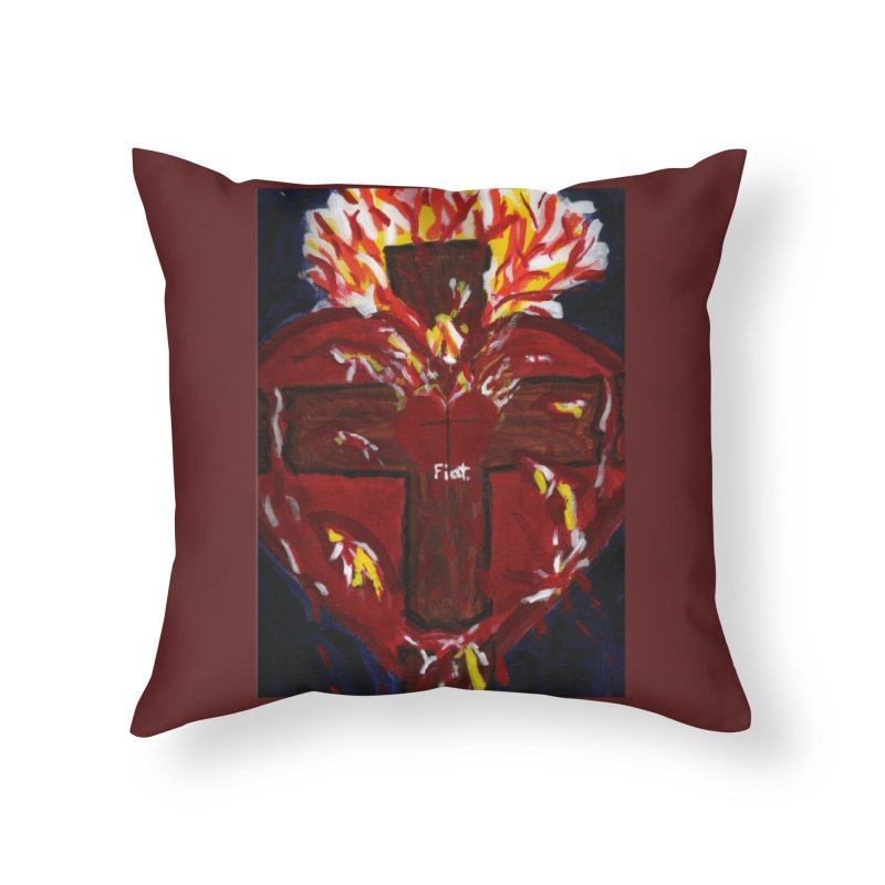 Sacred Heart of Jesus Home Throw Pillow by Mary Kloska Fiat's Artist Shop