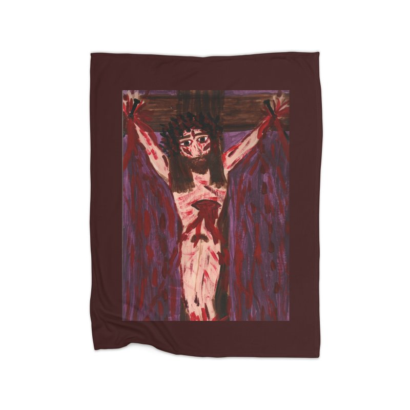 Patient Jesus Crucified Home Blanket by Mary Kloska Fiat's Artist Shop