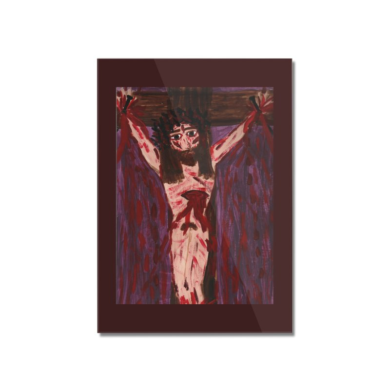 Patient Jesus Crucified Home Mounted Acrylic Print by Mary Kloska Fiat's Artist Shop