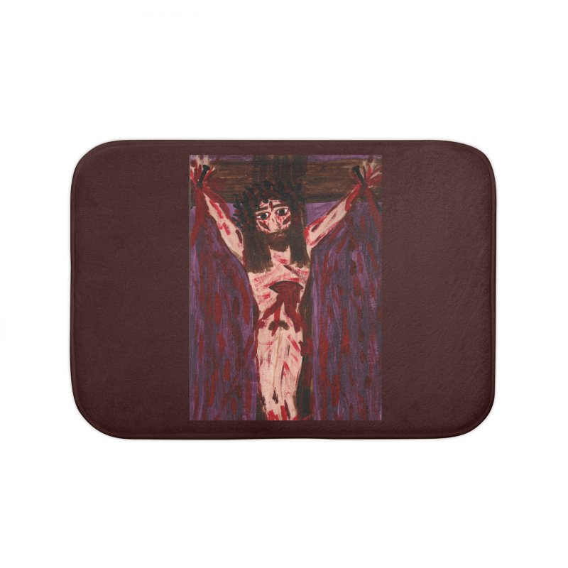 Patient Jesus Crucified Home Bath Mat by Mary Kloska Fiat's Artist Shop
