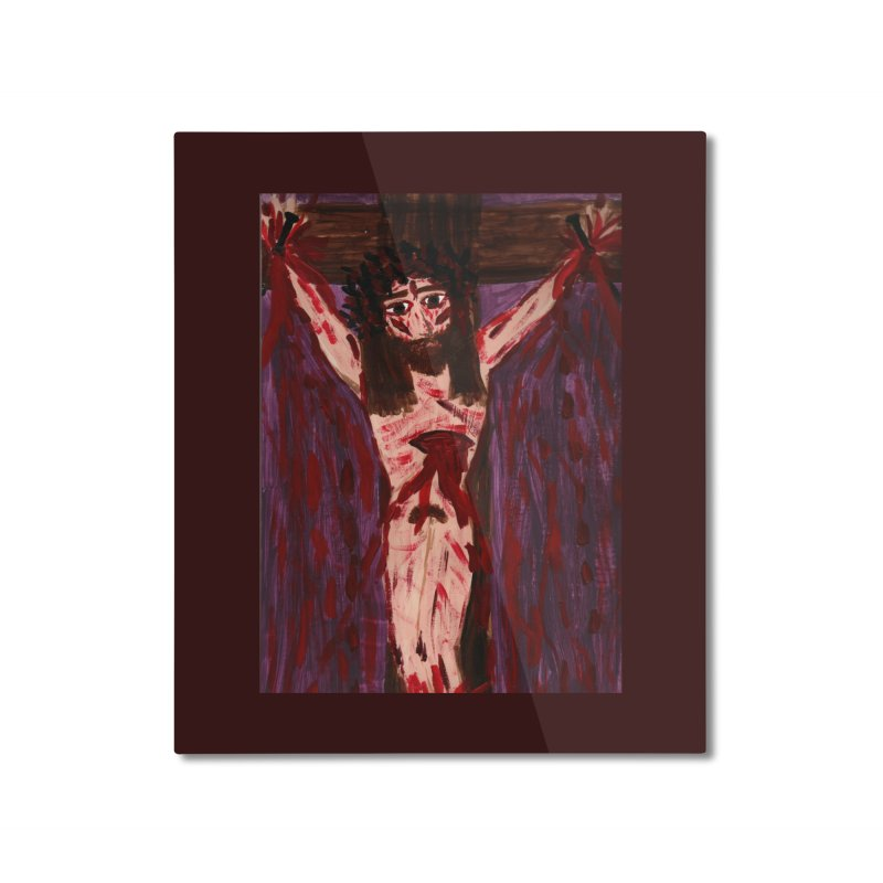 Patient Jesus Crucified Home Mounted Aluminum Print by Mary Kloska Fiat's Artist Shop