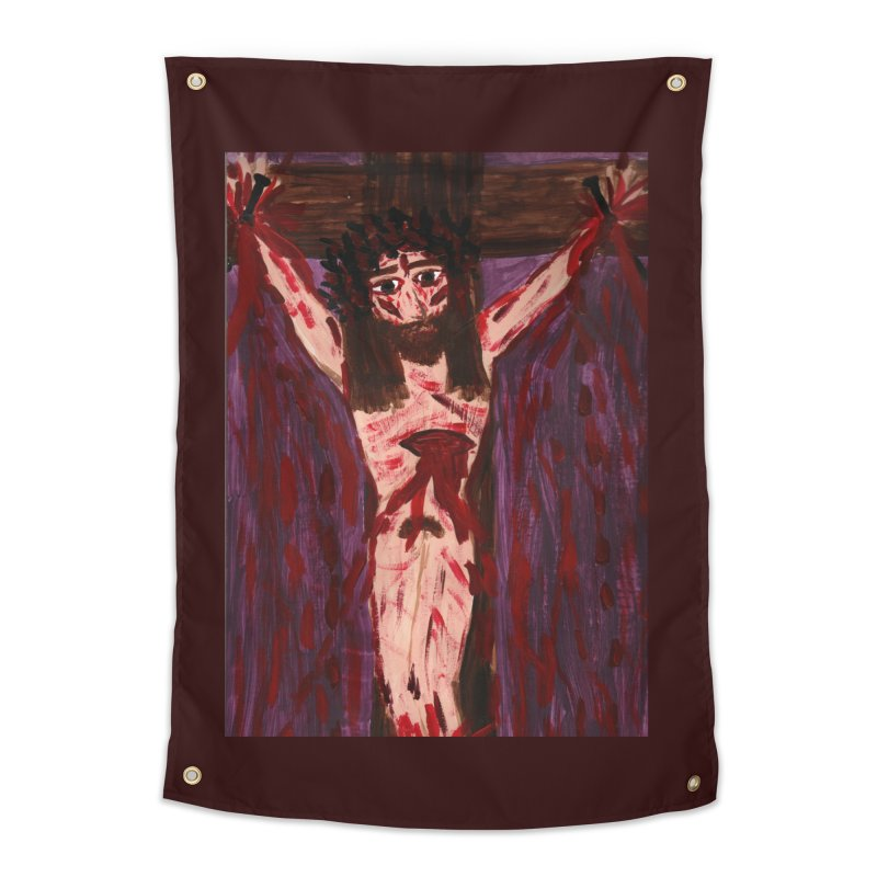 Patient Jesus Crucified Home Tapestry by Mary Kloska Fiat's Artist Shop