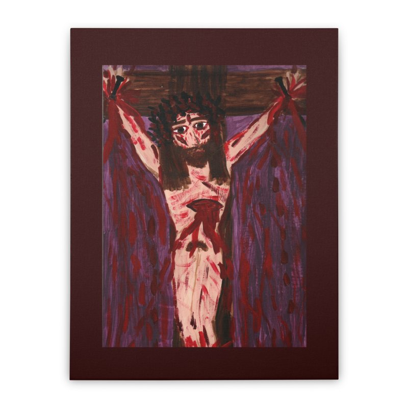 Patient Jesus Crucified Home Stretched Canvas by Mary Kloska Fiat's Artist Shop