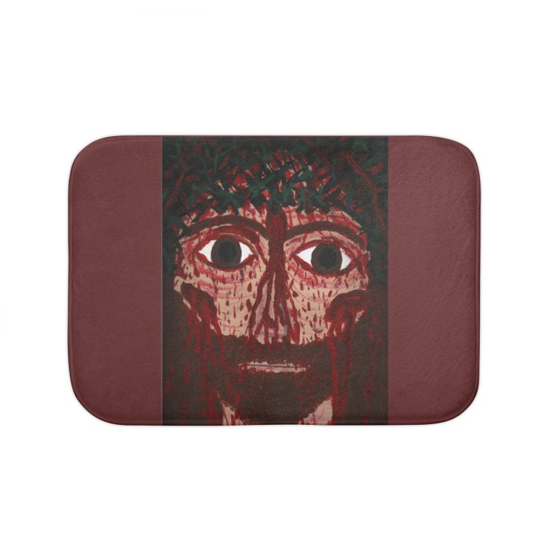 Holy Face of Jesus Crucified Home Bath Mat by Mary Kloska Fiat's Artist Shop